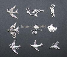 45PCS wholesale mixed Tibetan silver charms for bracelets the birds pendant