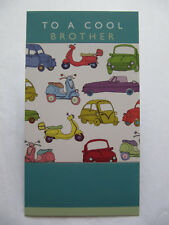 FANTASTIC COLOURFUL MOPEDS & CARS TO A COOL BROTHER BIRTHDAY GREETING CARD