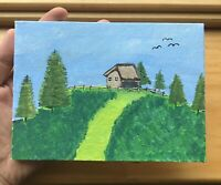 Landscape original hand painted acrylic painting on canvas ( 5x7in )