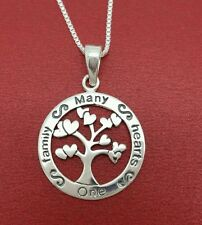 Sterling Silver Many Hearts One Family Necklace Solid 925 Tree of Life 4 mothers