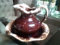 Vintage McCoy Pottery Ceramic Pitcher & Bowl Basin Set # 7515 Brown Dip