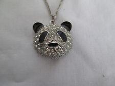 "Crystal & Black Panda Head Pendant 22"" Silvertone Necklace With 2"" Extension"