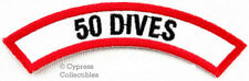 50 DIVES CHEVRON - SCUBA DIVING iron-on DIVE CERTIFICATION PATCH embroidered