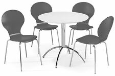 Dining Set Round White Table & 4 Slate Grey Chairs Chrome Keeler Kitchen Cafe
