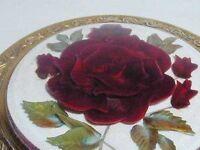 Vintage Reverse Carved Lucite Red Rose Floral Kigu Powder Compact