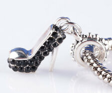 2pcs sterling solid silver shoe black CZ Beads European Charm Bracelet #A832
