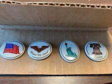 Lenox Usa Made Porcelain Lapel Pins Patriotic Set of 4