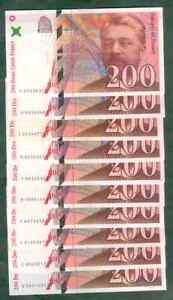 LIASSE DE 10 BILLETS  DE 200 FRANCS EIFFEL EN TTB