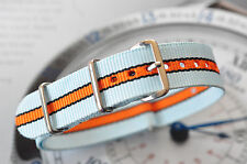 Quality 22mm Porsche Lemans Gulf Racing Colors Strap Watch Band for Tag Monaco +