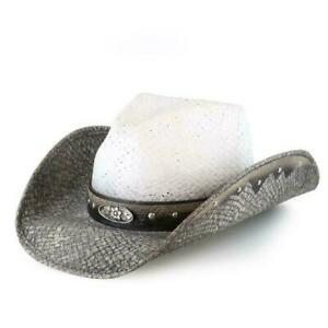 New Bullhide Full of Dreams Cowboy Hat 2927 Womens Size Large Grey & White Straw