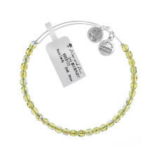 Alex and Ani Moss Rock Candy Beaded Silver Bangle BBEB172S - RRP £33