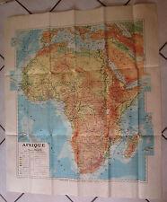 1931 M FALLEX Carte Afrique pleine toile chez Delagrave 110 x 94 cm