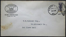 Cover - True 3 Cent Bisect to 1 1/2 Ct 3rd Class Mail rate - Chase Va S37