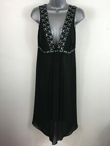 WOMENS M&S AUTOGRAPH BLACK SHEER BEAD JEWEL EMBELLISHED PLUNGING NECK DRESS UK12