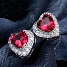 Ohrstecker Ohrring Herz mit rotem Zirkonia