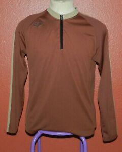 Fox Brown Tan Long Sleeved Cycling Bike Jersey Zippered Pocket Medium