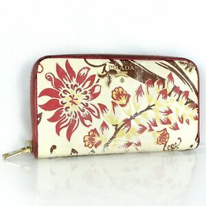 PRADA Saffiano Leather Zip Around Zippy Continental Wallet Purse Flower 1M0506