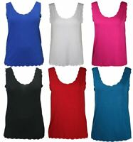 Womens Sleeveless Scallop Edges Vest Top Ladies Plain Casual Wear Tshirt Top
