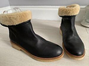 Bertie Dark Brown Leather Flat Ankle Boots Fleece Lined Size 5.5 Narrow