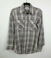 Vintage 70/80s Levi Strauss & Co Western Style Thin Plaid Shirt Men's Sz Small