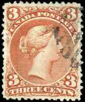 Canada #25viii used VF 1868 Queen Victoria 3c red Large Queen Bothwell Paper
