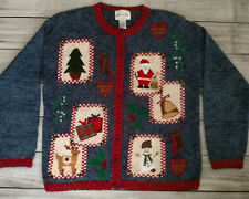 VINTAGE ~ Christmas Carly St Clair Ugly Sweater Santa Wreath Gifts Size Medium