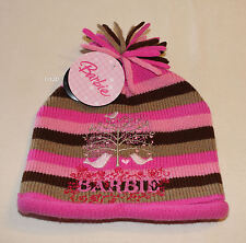 Barbie Girls Pink Brown Stripe Embroidered Acrylic Beanie Size 7 - 10 New