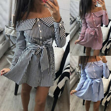 Womens Ladies Striped Tops Blouse Off Shoulder Summer Beach Shirt Dress S-XL HC