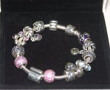 NIB Pandora 925 Silver Bracelet With14 Charms Beads Love & Hearts, Amethyst