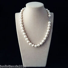 "Natural 10mm White South Sea Shell Pearl Necklace Long 24"" AAA"