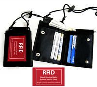 Black Leather ID CARD Holder Neck Strap Travel Work Pouch Wallet RFID Blocking