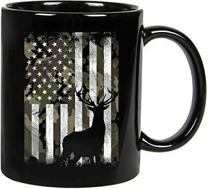 Camo American Flag Deer Elk Buck Hunting USA Hunter Gift Coffee Mug 11oz/15oz