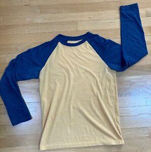 BOYS Urban Pipeline - BLUE/YELLOW - Long Sleeve 'Ultimate Tee' Shirt - Size XL