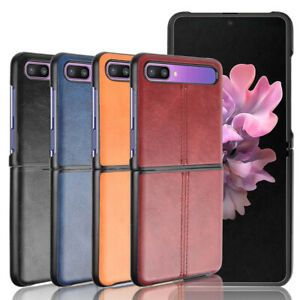 For Samsung Galaxy Z Flip Case Route Calfskin PU Leather PC Hard Back Cover