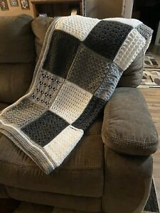 Handmade crochet afghan / throw blanket Grays
