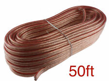 Car Home Audio Speaker Wire Transparent Clear Cable 16AWG 50ft 16/2 Gauge