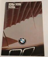 1987 BMW 5 Series Sales Brochure 528e 535i 535is Catalog E28 Original
