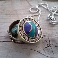 Caja Oración amuleto colgante Ghau Tibetano lapislázuli&turquesa colgante unisex