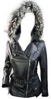 Ladies Women 100% Winter Leather Jacket Coat Hood Fur Belt