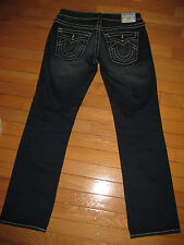 TRUE RELIGION DISCO JOEY BIG T BLUE CRYSTAL STRETCH STRAIGHT LEG DARK SIZE 28 LN
