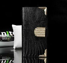 Luxury Bling Diamond Leather Case Magnetic Flip Wallet Cover For iPhone/Samsung