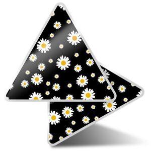 2 x Triangle Stickers 10 cm - Cute Daisy Flowers Garden  #2438
