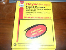 Haynes en Espanal Ford & Mercury Modelos de Tamano Mediano 1975 al 1986