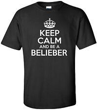 KEEP CALM BE BELIEBER funny mens t shirt  Justin Bieber pop music