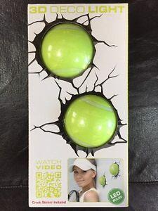 2 x TENNIS BALLS 3D LED WALL LIGHTS NEW ROOM DECRO LAMP