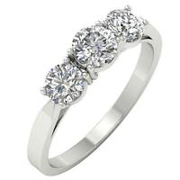 3 Stone Engagement Ring SI1 G 1.01 Ct Natural Round Cut Diamond 14K Gold 4.5mm