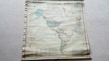 LARGE ANTIQUE MAP OF THE WORLD. PUBLISHER SCARBOROUGH'S.