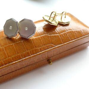 Art Deco 18ct Gold & Platinum Cufflinks in Antique Box - Super Quality