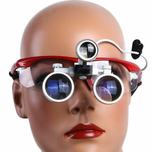 Dental Loupes Optical Glass & LED Light Lamp Portable Head Surgical Binocular