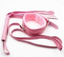 Kit 2 accessoires SM roses : 1 collier de soumise et un fouet en cuir